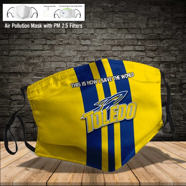 NCAA - Toledo Rockets #8 Save The World Print Fabric, Reusable Dust Mask, Face Cover with Filter Activated Carbon PM 2.5