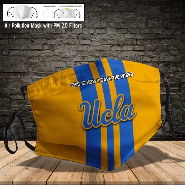 NCAA - UCLA Bruins #8 Save The World Print Fabric, Reusable Dust Mask, Face Cover with Filter Activated Carbon PM 2.5