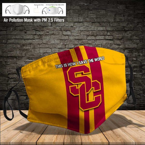 NCAA - USC Trojans #8 Save The World Print Fabric, Reusable Dust Mask, Face Cover with Filter Activated Carbon PM 2.5