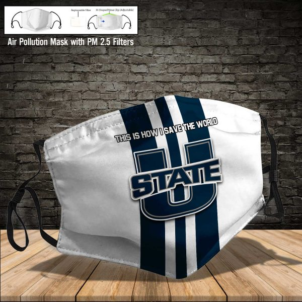 NCAA - Utah State Aggies #8 Save The World Print Fabric, Reusable Dust Mask, Face Cover with Filter Activated Carbon PM 2.5