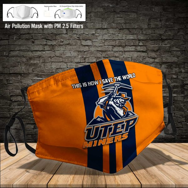 NCAA - UTEP Miners #8 Save The World Print Fabric, Reusable Dust Mask, Face Cover with Filter Activated Carbon PM 2.5