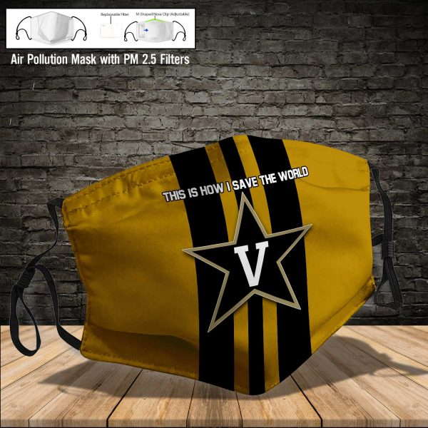 NCAA - Vanderbilt Commodores #8 Save The World Print Fabric, Reusable Dust Mask, Face Cover with Filter Activated Carbon PM 2.5