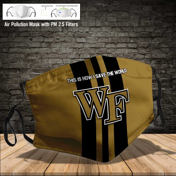 NCAA - Wake Forest Demon Deacons #8 Save The World Print Fabric, Reusable Dust Mask, Face Cover with Filter Activated Carbon PM 2.5