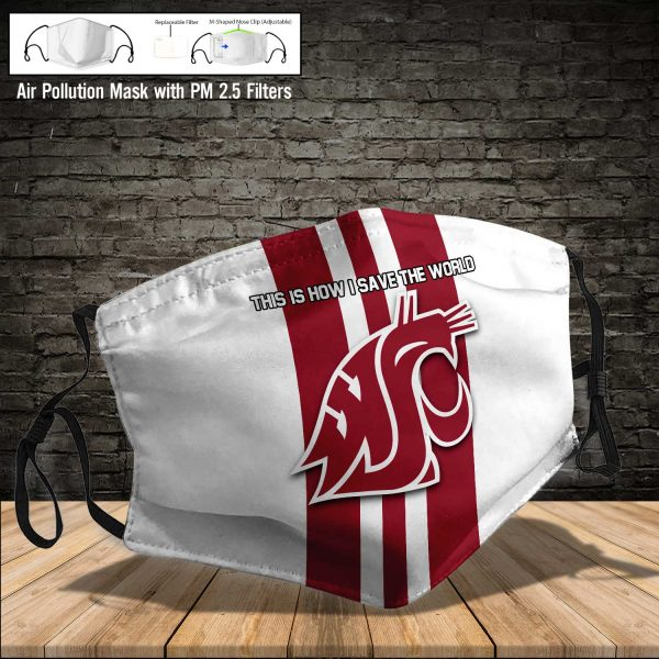 NCAA - Washington State Cougars #8 Save The World Print Fabric, Reusable Dust Mask, Face Cover with Filter Activated Carbon PM 2.5