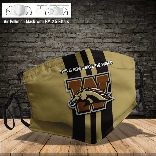NCAA - Western Michigan Broncos #8 Save The World Print Fabric, Reusable Dust Mask, Face Cover with Filter Activated Carbon PM 2.5