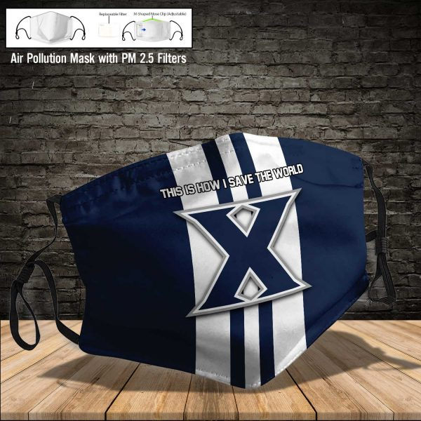 NCAA - Xavier Musketeers #8 Save The World Print Fabric, Reusable Dust Mask, Face Cover with Filter Activated Carbon PM 2.5