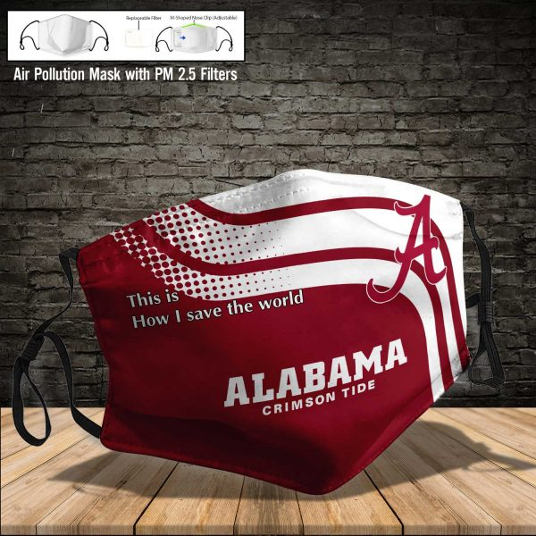 NCAA - Alabama Crimson Tide #2 Save The World Print Fabric, Reusable Dust Mask, Face Cover with Filter Activated Carbon PM 2.5