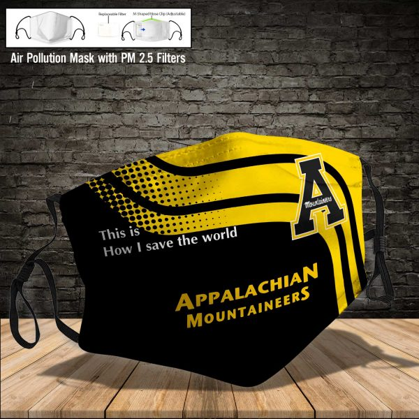 NCAA - Appalachian State Mountaineers #2 Save The World Print Fabric, Reusable Dust Mask, Face Cover with Filter Activated Carbon PM 2.5