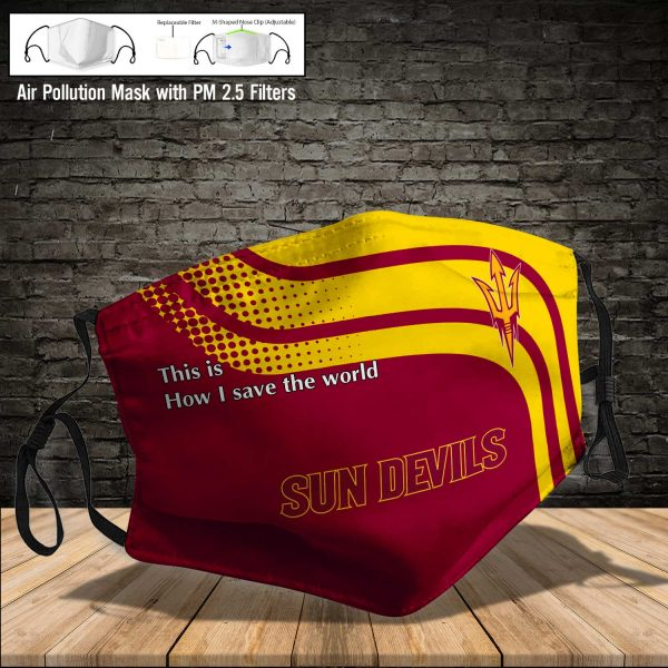NCAA - Arizona State Sun Devils football #2 Save The World Print Fabric, Reusable Dust Mask, Face Cover with Filter Activated Carbon PM 2.5