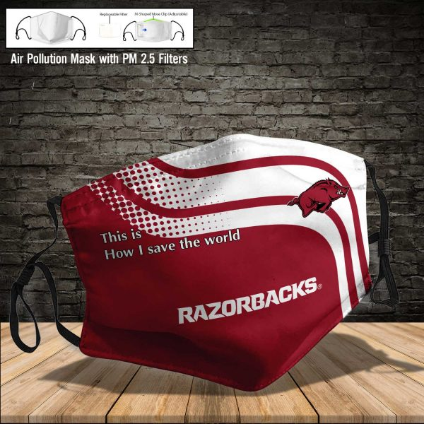 NCAA - Arkansas Razorbacks #2 Save The World Print Fabric, Reusable Dust Mask, Face Cover with Filter Activated Carbon PM 2.5