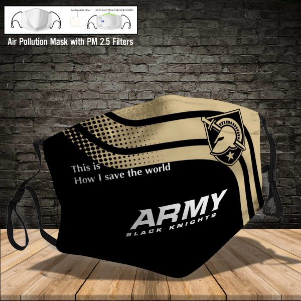 NCAA - Army Black Knights #2 Save The World Print Fabric, Reusable Dust Mask, Face Cover with Filter Activated Carbon PM 2.5
