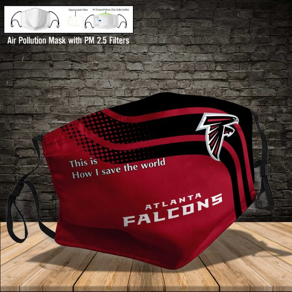 NFL - Atlanta Falcons #2 Save The World (Print Fabric, Reusable Dust Mask, Face Cover with Filter Activated Carbon PM 2.5)