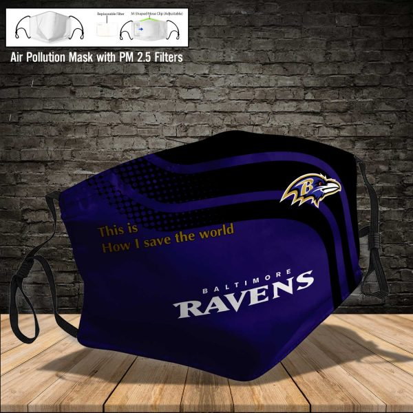 NFL - Baltimore Ravens #2 Save The World (Print Fabric, Reusable Dust Mask, Face Cover with Filter Activated Carbon PM 2.5)