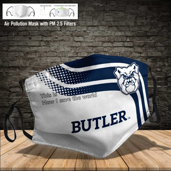 NCAA - Butler Bulldogs #2 Save The World Print Fabric, Reusable Dust Mask, Face Cover with Filter Activated Carbon PM 2.5