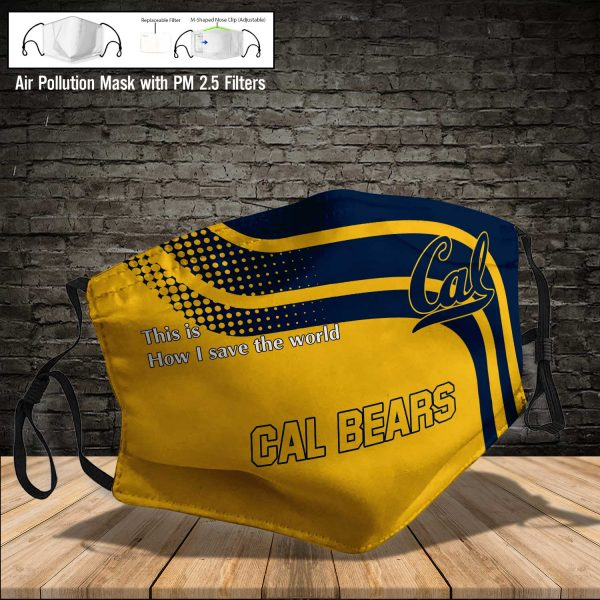 NCAA - Cal Bears #2 Save The World Print Fabric, Reusable Dust Mask, Face Cover with Filter Activated Carbon PM 2.5