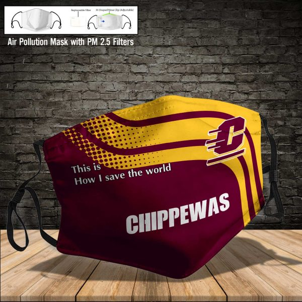 NCAA - Central Michigan Chippewas #2 Save The World Print Fabric, Reusable Dust Mask, Face Cover with Filter Activated Carbon PM 2.5