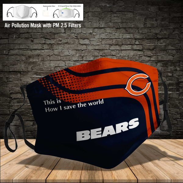NFL - Chicago Bears #2 Save The World (Print Fabric, Reusable Dust Mask, Face Cover with Filter Activated Carbon PM 2.5)