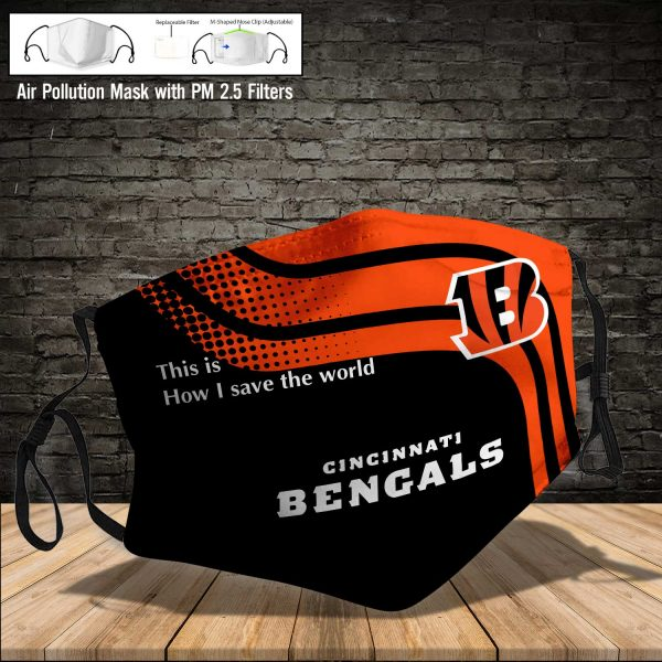 NFL - Cincinnati Bengals #2 Save The World (Print Fabric, Reusable Dust Mask, Face Cover with Filter Activated Carbon PM 2.5)