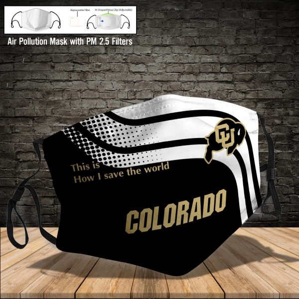 NCAA - Colorado Buffaloes #2 Save The World Print Fabric, Reusable Dust Mask, Face Cover with Filter Activated Carbon PM 2.5
