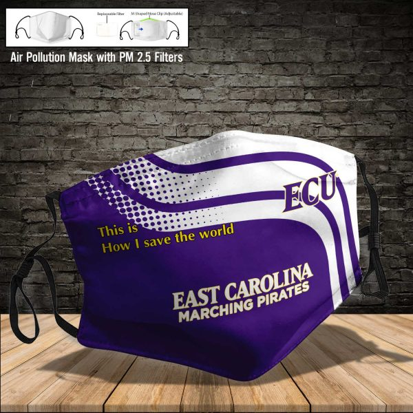 NCAA - East Carolina Pirates #2 Save The World Print Fabric, Reusable Dust Mask, Face Cover with Filter Activated Carbon PM 2.5