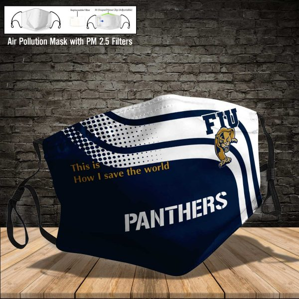 NCAA - Fiu Golden Panthers #2 Save The World Print Fabric, Reusable Dust Mask, Face Cover with Filter Activated Carbon PM 2.5