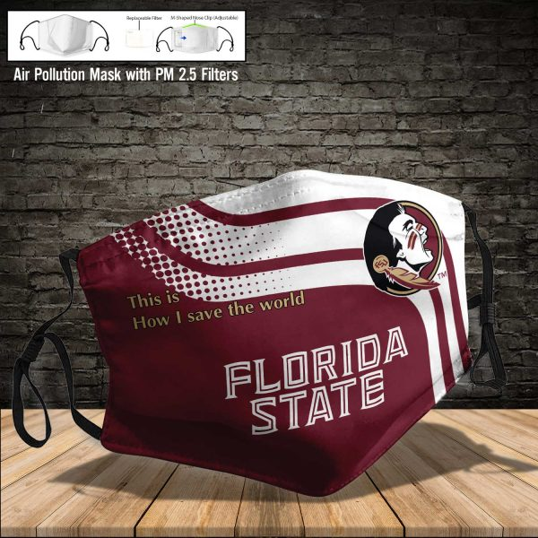 NCAA - Florida State Seminoles #2 Save The World Print Fabric, Reusable Dust Mask, Face Cover with Filter Activated Carbon PM 2.5