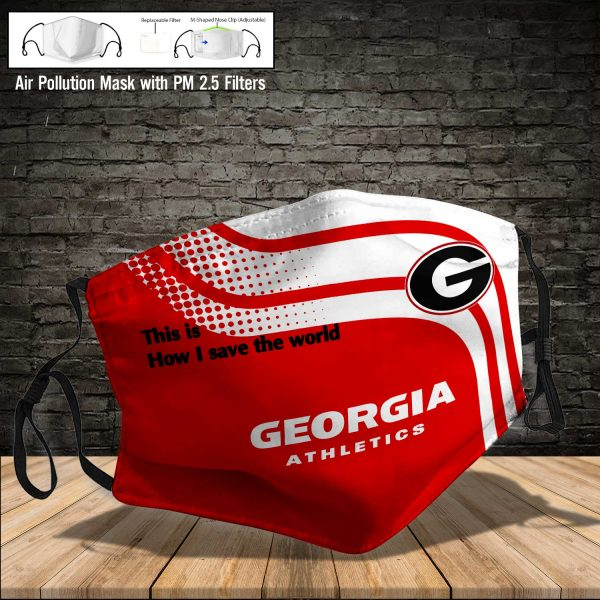 NCAA - Georgia Bulldogs #2 Save The World Print Fabric, Reusable Dust Mask, Face Cover with Filter Activated Carbon PM 2.5
