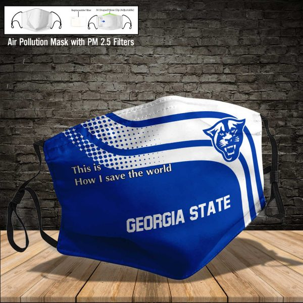 NCAA - Georgia State Panthers #2 Save The World Print Fabric, Reusable Dust Mask, Face Cover with Filter Activated Carbon PM 2.5