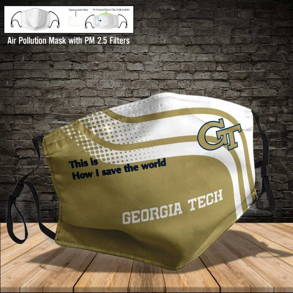 NCAA - Georgia Tech Yellow Jackets #2 Save The World Print Fabric, Reusable Dust Mask, Face Cover with Filter Activated Carbon PM 2.5