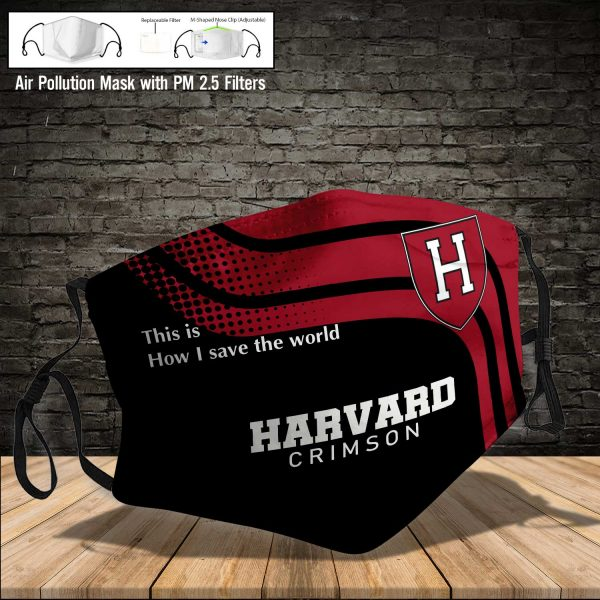 NCAA - Harvard Crimson #2 Save The World Print Fabric, Reusable Dust Mask, Face Cover with Filter Activated Carbon PM 2.5