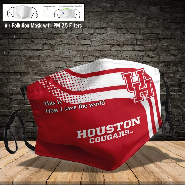 NCAA - Houston Cougars #2 Save The World Print Fabric, Reusable Dust Mask, Face Cover with Filter Activated Carbon PM 2.5