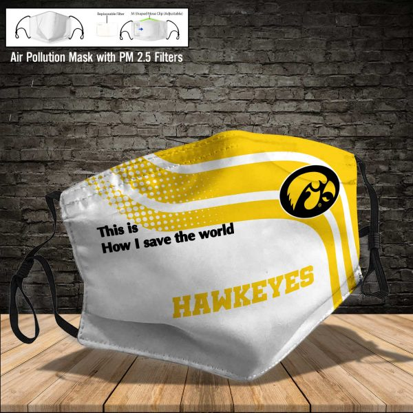 NCAA - Iowa Hawkeyes #2 Save The World Print Fabric, Reusable Dust Mask, Face Cover with Filter Activated Carbon PM 2.5
