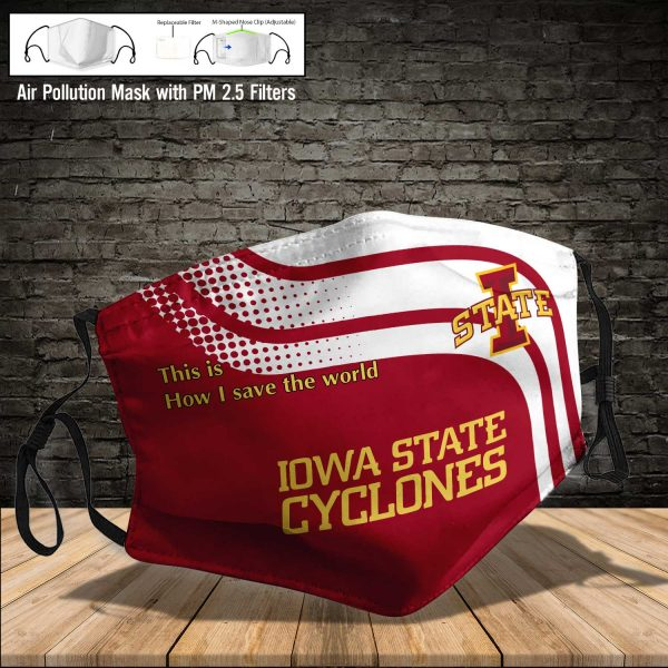 NCAA - Iowa State Cyclones #2 Save The World Print Fabric, Reusable Dust Mask, Face Cover with Filter Activated Carbon PM 2.5
