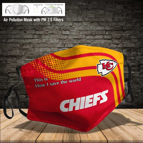 NFL - Kansas City Chiefs #2 Save The World (Print Fabric, Reusable Dust Mask, Face Cover with Filter Activated Carbon PM 2.5)