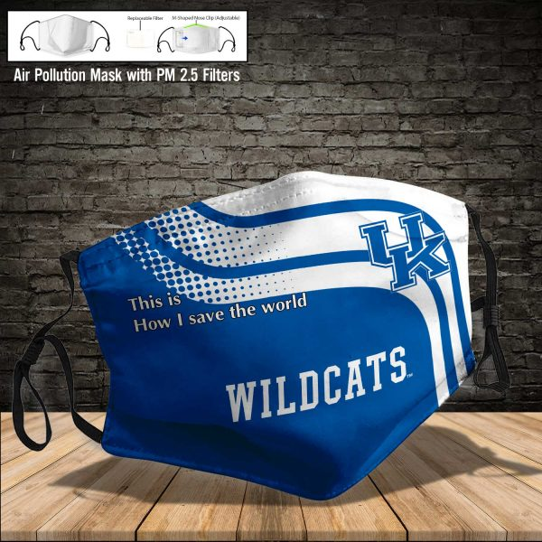 NCAA - Kentucky Wildcats #2 Save The World Print Fabric, Reusable Dust Mask, Face Cover with Filter Activated Carbon PM 2.5