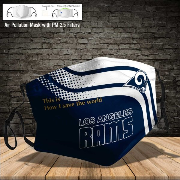 NFL - Los Angeles Rams #2 Save The World (Print Fabric, Reusable Dust Mask, Face Cover with Filter Activated Carbon PM 2.5)