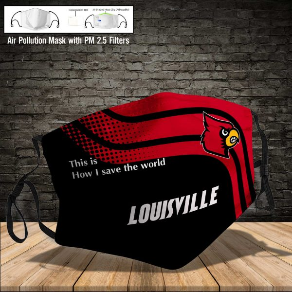 NCAA - Louisville Cardinals #2 Save The World Print Fabric, Reusable Dust Mask, Face Cover with Filter Activated Carbon PM 2.5