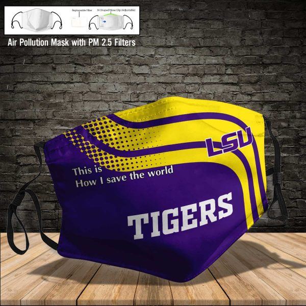 NCAA - LSU Tigers #2 Save The World Print Fabric, Reusable Dust Mask, Face Cover with Filter Activated Carbon PM 2.5