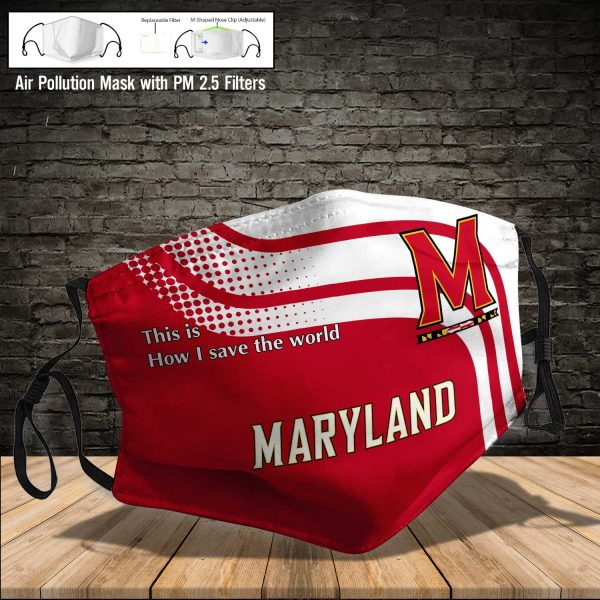 NCAA - Maryland Terrapins #2 Save The World Print Fabric, Reusable Dust Mask, Face Cover with Filter Activated Carbon PM 2.5