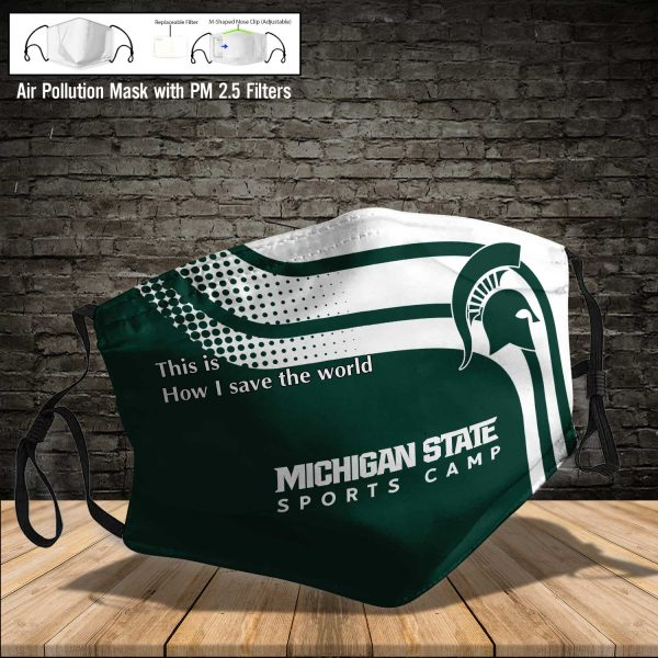 NCAA - Michigan State Spartans #2 Save The World Print Fabric, Reusable Dust Mask, Face Cover with Filter Activated Carbon PM 2.5