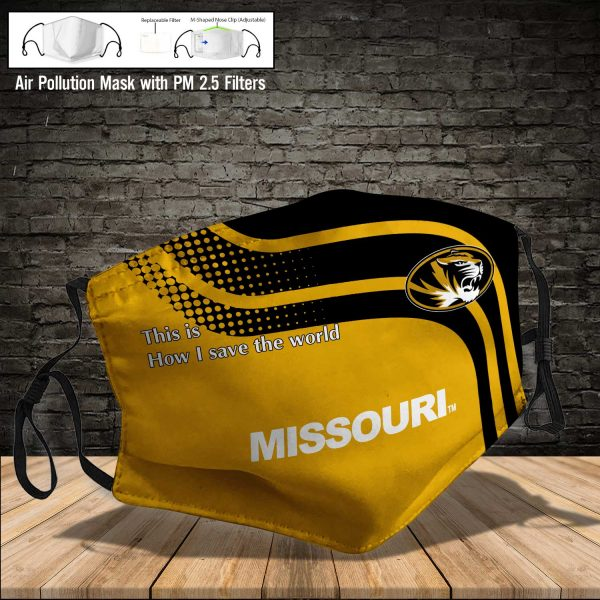 NCAA - Missouri Tigers #2 Save The World Print Fabric, Reusable Dust Mask, Face Cover with Filter Activated Carbon PM 2.5