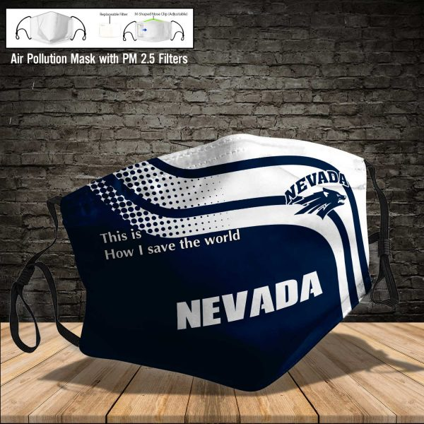 NCAA - Nevada Wolf Pack #2 Save The World Print Fabric, Reusable Dust Mask, Face Cover with Filter Activated Carbon PM 2.5