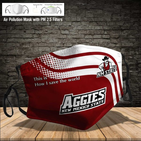 NCAA - New Mexico State Aggies #2 Save The World Print Fabric, Reusable Dust Mask, Face Cover with Filter Activated Carbon PM 2.5