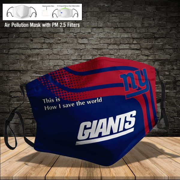 NFL - New York Giants #2 Save The World (Print Fabric, Reusable Dust Mask, Face Cover with Filter Activated Carbon PM 2.5)