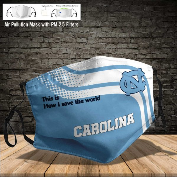 NCAA - North Carolina Tar Heels #2 Save The World Print Fabric, Reusable Dust Mask, Face Cover with Filter Activated Carbon PM 2.5