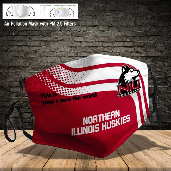 NCAA - Northern Illinois Huskies #2 Save The World Print Fabric, Reusable Dust Mask, Face Cover with Filter Activated Carbon PM 2.5