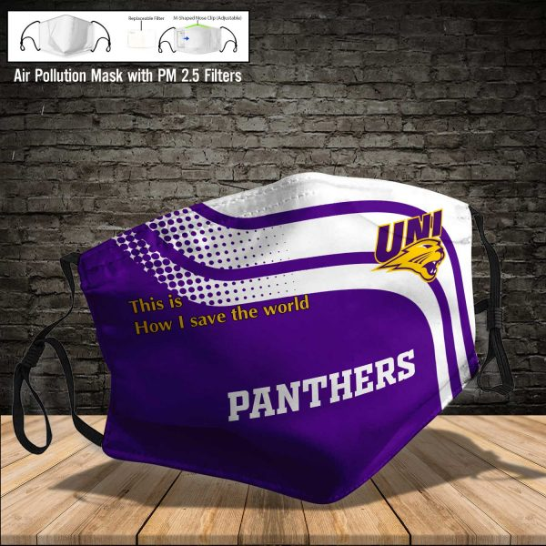 NCAA - Northern Iowa Panthers #2 Save The World Print Fabric, Reusable Dust Mask, Face Cover with Filter Activated Carbon PM 2.5