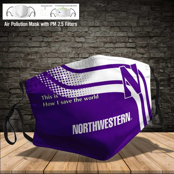 NCAA - Northwestern Wildcats #2 Save The World Print Fabric, Reusable Dust Mask, Face Cover with Filter Activated Carbon PM 2.5
