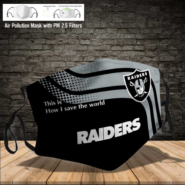 NFL - Oakland Raiders #2 Save The World (Print Fabric, Reusable Dust Mask, Face Cover with Filter Activated Carbon PM 2.5)