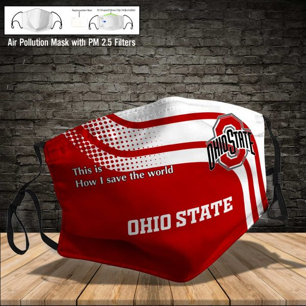 NCAA - Ohio State Buckeyes #2 Save The World Print Fabric, Reusable Dust Mask, Face Cover with Filter Activated Carbon PM 2.5
